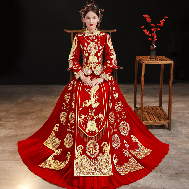 Show clothes 2020 new Chinese wedding dress wedding dress bride small man Chinese fengyu show toast dress girl