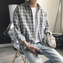 Autumn Harbor Wind Ins Chequered Shirt Men's Long Sleeve Korean Fashion Handsome Coat Leisure Couple's White Shirt