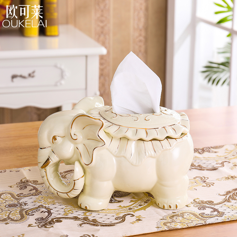 European Modern Creative Ceramics Elephant Towel Box Decoration Tea Table Table Hotel KTV Living Room Decoration