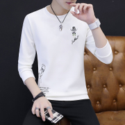 The winter long sleeved t-shirt t-shirt with cashmere sweater Korean male student dress warm autumn clothing men's slim shirt