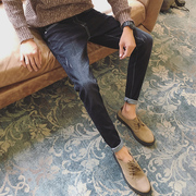 Qiu dongkuan stretch jeans trend of Korean men straight slim feet boys pants with cashmere thickened in winter