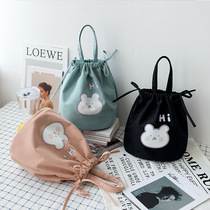 Canvas bag schoolgirl cute small cloth wrapped lunch box round poop bag with rice draw rope bundle pocket
