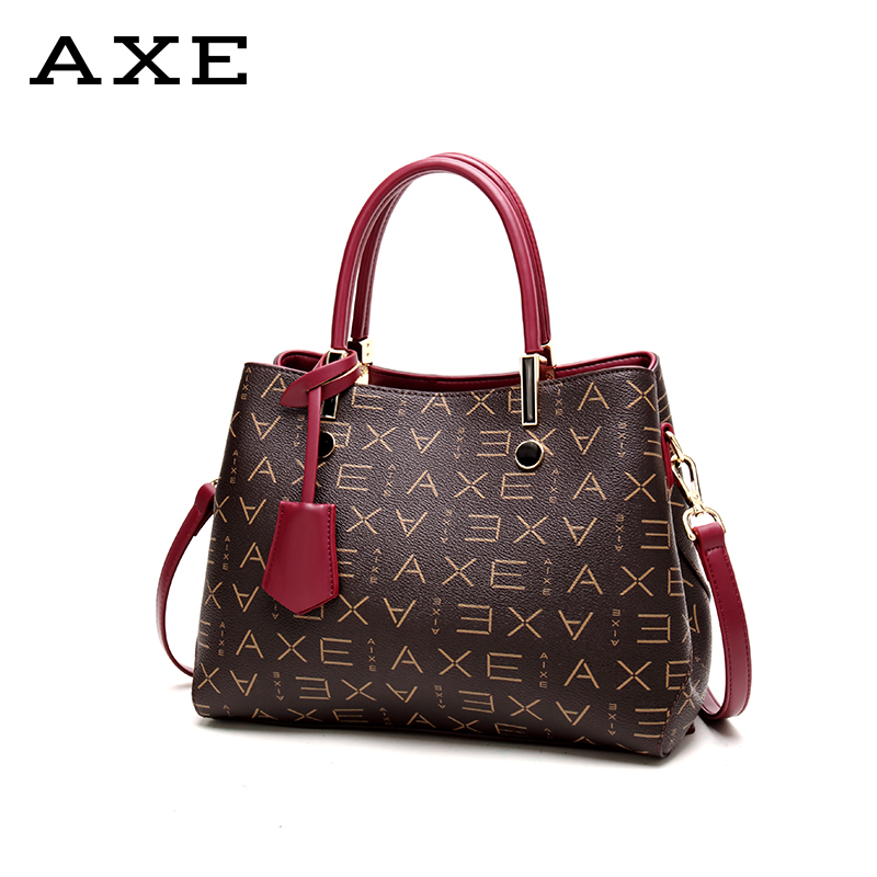AXE middle-aged female bag mother bag business female bag lady bag 2018 autumn new European and American handbag big bag