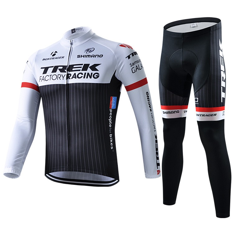 Black-and-white motorcade cycling equipment of long sleeve suit for spring, autumn and winter mountain self-propelled bicycle