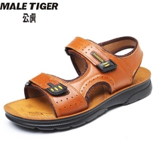S sandals men's leather summer new magic paste cowhide recreational men's beach shoes leather thick sole anti-skid cool x