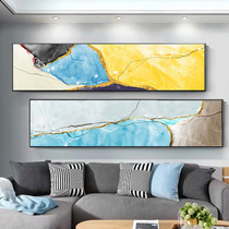 Hand-painted abstract oil painting Modern light luxury bedroom decoration Nordic living room gold foil mural Hotel hanging picture bedside painting