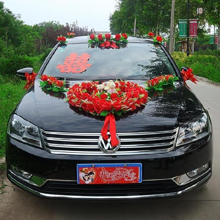 Wedding car decoration magnet pick-up team main car with the main wedding car head flower wedding Chinese wind pink fashion side car