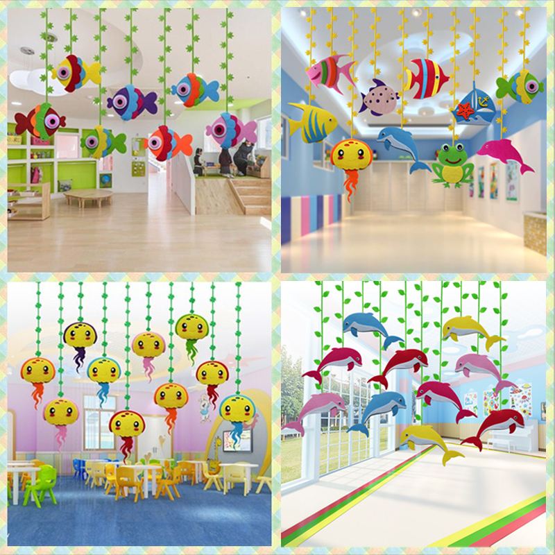 Kindergarten Hanging Spring Decoration Classroom Corridor Environment Arrangement Shop Hanging Marine Fish Hanging in the Air