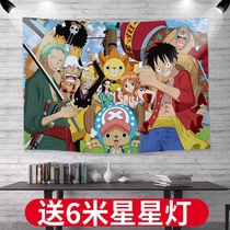 One Piece anime background wall cloth ins hanging cloth student dormitory bedside decorative cloth room bedroom layout lufei