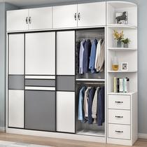Sliding door large wardrobe Household bedroom overall cabinet Solid wood small apartment modern simple rental room storage wardrobe