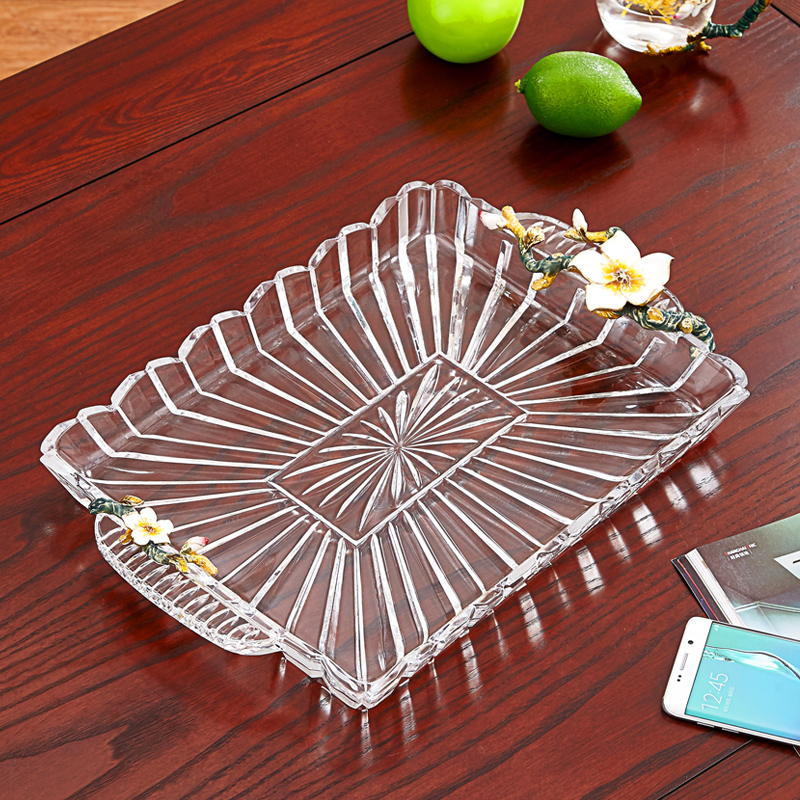 Enamel Coloured Water Cup Tray Glass Fruit Tray Household cup tray Pastoral wind rectangular thickened tea tray
