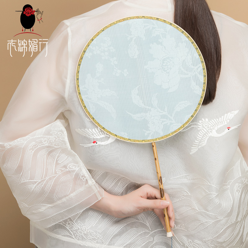 Clothes Jinmei line Qing Dynasty white Luo fan bamboo handle white jade jade silk back to the dragon鬚 su group fan Han clothing accessories fan fan