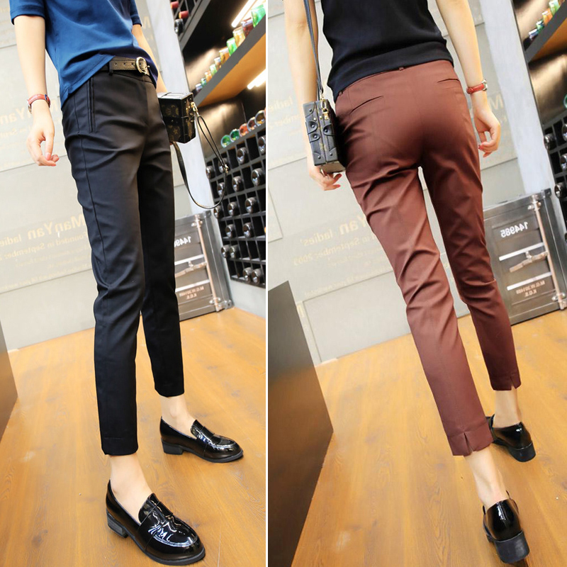Suit pants women nine points spring and autumn 2021 new casual pants women eight points high waist thin slim professional small foot pants