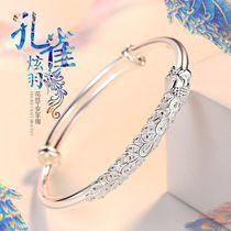 Lao Feng Xiangyun sterling silver bracelet Female S999 solid foot silver bracelet send mother to girlfriend wife birthday gift
