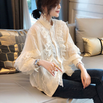 Fairy coat white bottoming shirt womens lace shirt long sleeve loose stand collar ruffles sweater spring 2020 new