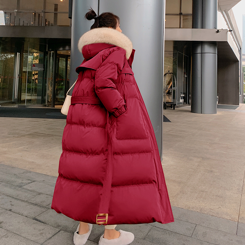 Khmer Rouge womens 2020 winter new Korean version of loose temperament show thin hair collar long version of down cotton coat