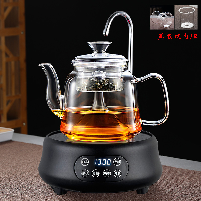 Tea maker automatically on the hydropower pottery stove to make tea white tea health pot glass kettle steaming teapot cooking tea stove home