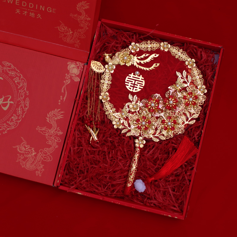 Wedding party fan diy material bag bridal group fan show dress happy fan ancient fan Chinese hand holding flowers