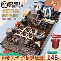 整套功夫茶具套组家用电热炉简约紫砂陶瓷茶杯壶茶臺茶道实木茶盘