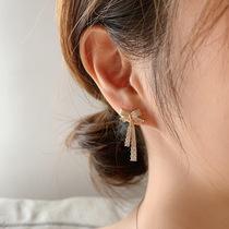 925 silver needle Korean niche design full of diamond bow drop earrings Net red elegant fashion temperament stud earrings women