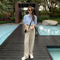 Apricot color temperament suit pants children 2021 spring and autumn high waist thin hanging feeling mop floor straight tube wide legs casual trousers