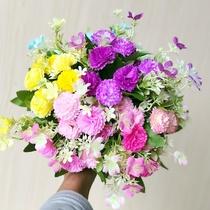 仿真花束客厅塑料假花装饰摆饰栅栏插花雏菊手捧花单支玫瑰花摆设