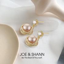 Natural pearl earrings earrings 2021 new fashion high-class temperament French retro drop earrings earrings womens summer