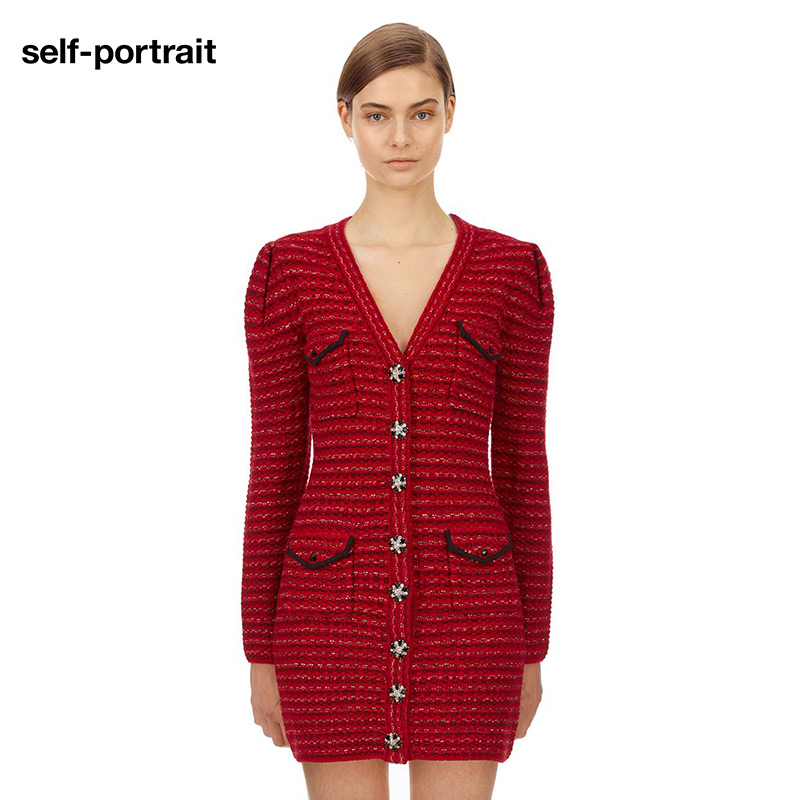self-portrait red lurex blend cardigan knitted slim dress skirt