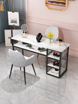 Net celebrity ins nail art table and chair set New economical nail shop table and chair light luxury Japanese single and double table
