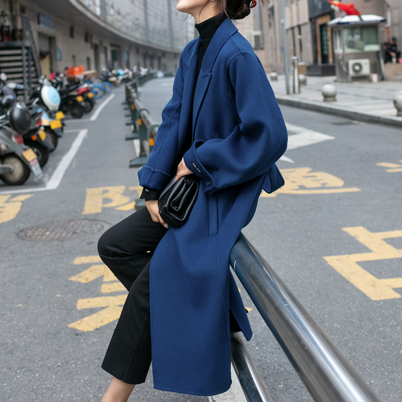 Blue double-sided cashmere coat female medium-length version of the 2020 new winter loose-fitting Hepburn wind hair coat