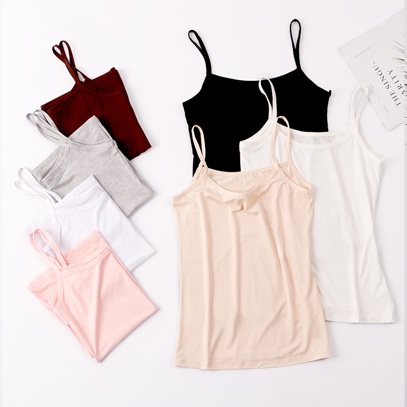 Modal camisole womens blouse spring and summer short fit slim thin black white womens blouse