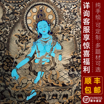 Save the eight difficulties Green mother Buddha hall hanging painting to protect the female Manjushri Bodhisattva statue of the God of wealth Tibetan pure hand-painted Thangka hanging painting