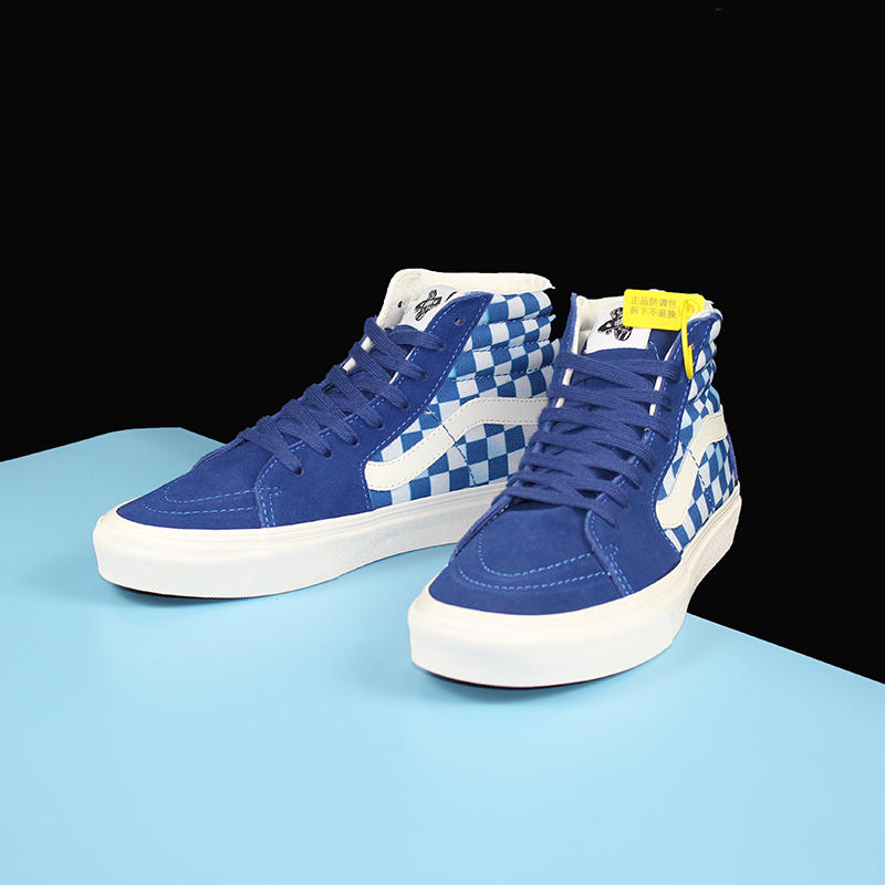 vxdt joint Longvance blue plaid high-top canvas shoes male SK8HI phantom checkerboard couple board shoes female