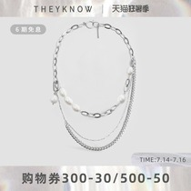 THEYKNOW necklace Female clavicle chain ins cold wind niche design sense Pearl necklace necklace personality jewelry