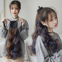 Wig Ponytail female long curly hair Big waves dyed long hair braids Natural strap wig female high ponytail section