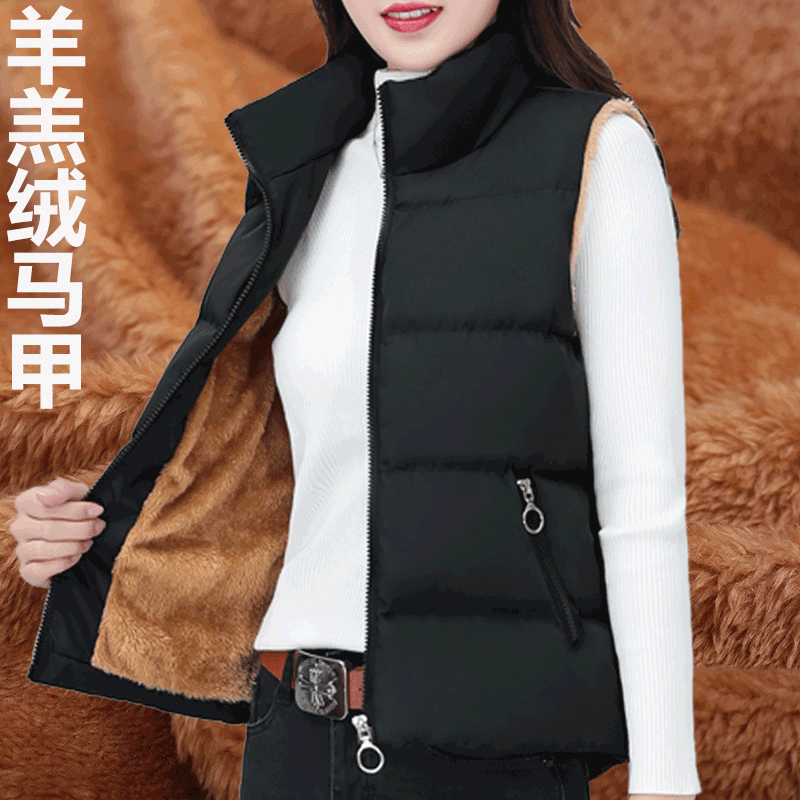 2020 new Korean version of the short cotton clothing down cotton plus down horse armor autumn and winter womens vest loose spring and autumn shoulder coat