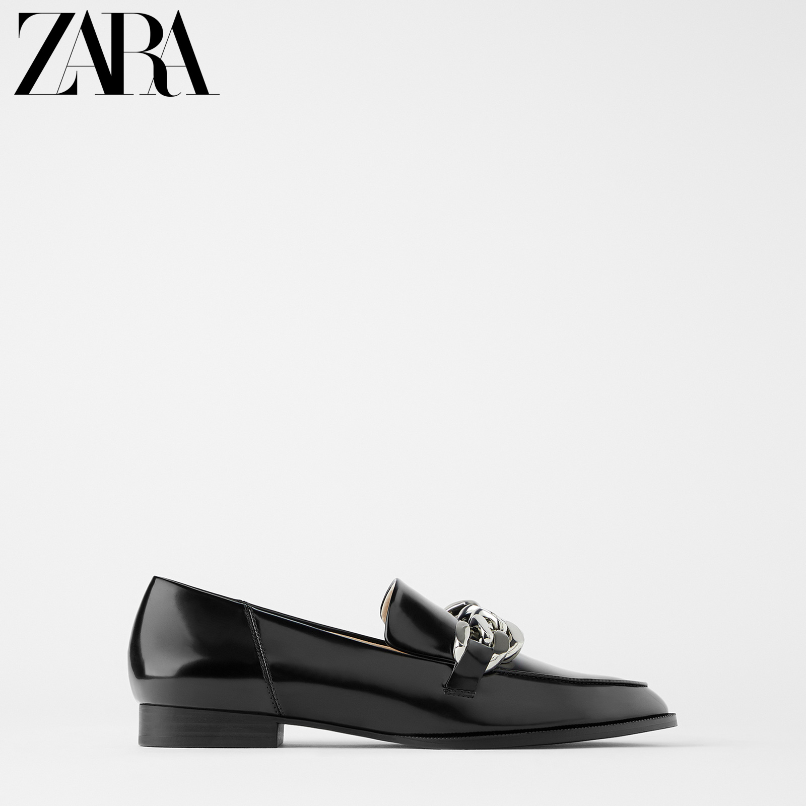 Zara new women's shoes black chain leather moccasin shoes 11503510040