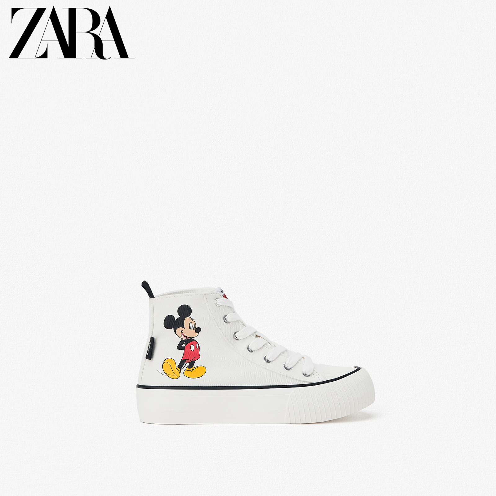 Zara new children's shoes Girls Disney Mickey Mouse print high top sneaker 12210530001
