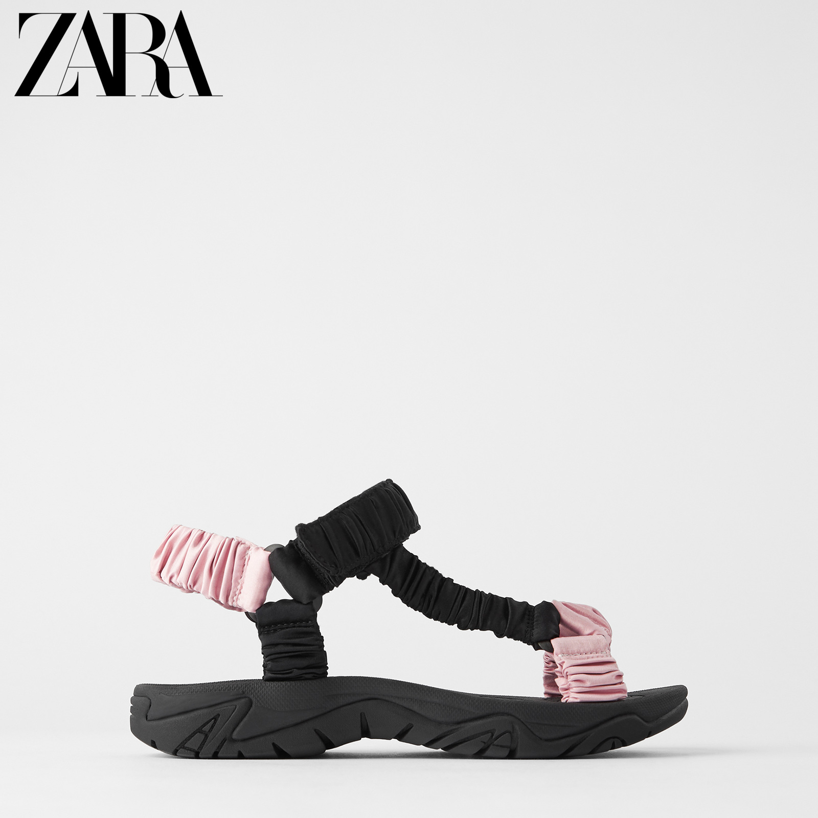 Zara new TRF women's shoes with bowknot and satin sports flat sandals 13878510202
