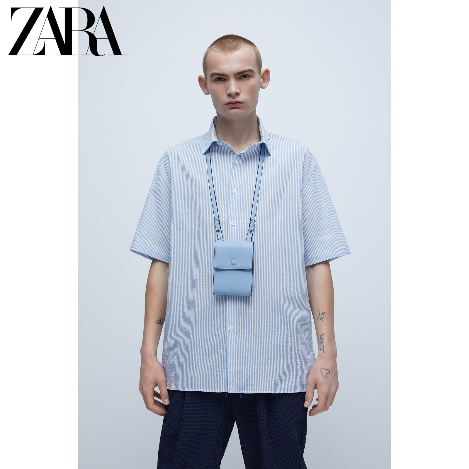 Zara new men's stripe seersucker short sleeve shirt 04323415403
