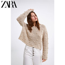 ZARA new women's ball knitted sweater 04331019052