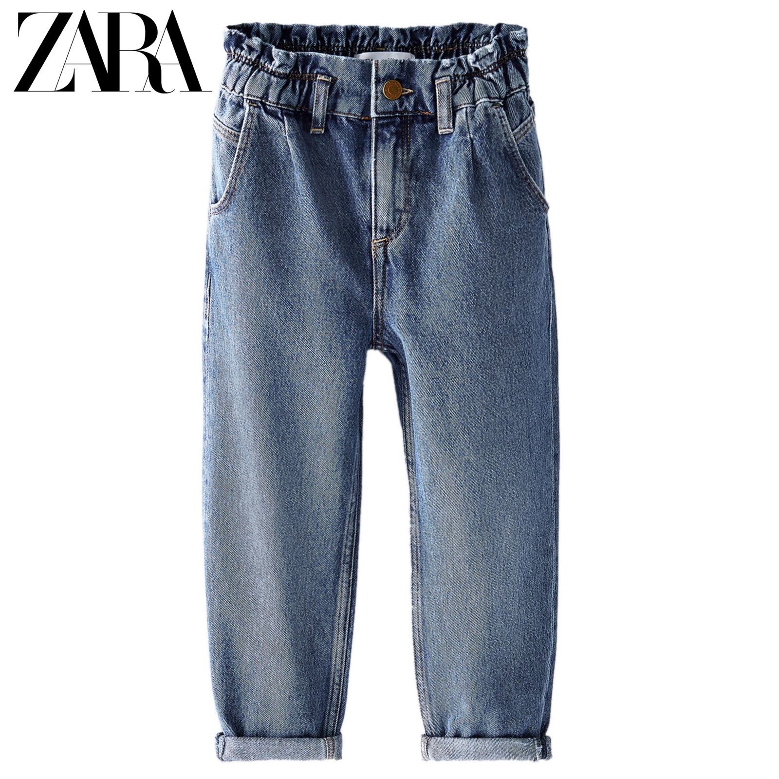 Zara new children's elastic loose jeans 05862602400