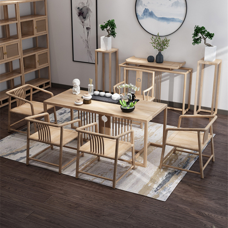 Office kung fu tea solid wood tea table new Chinese modern simple Zen wood home tea table and chair combination