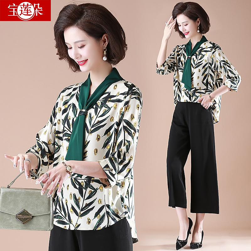 2021 New Mom Spring Dress Chiffon Shirt Middle-aged Womens Spring Autumn Top Middle-aged Summer Short Sleeve Set