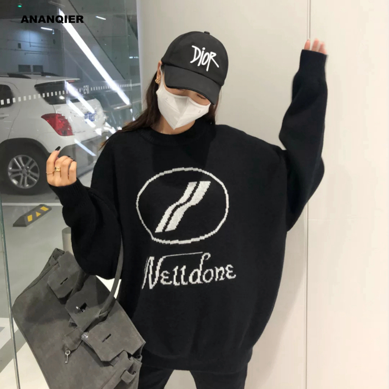 We11done sweater letter round collar knitted set head early autumn new welldone wool long sleeves