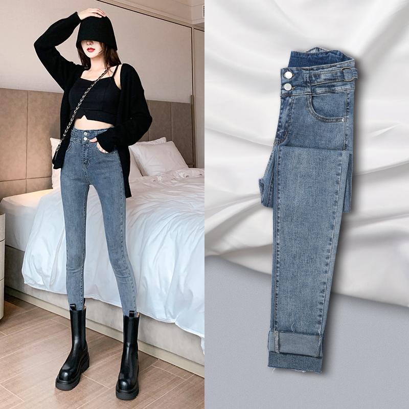 Denim pipe pants womens 2020 new autumn winter high waist show thin tight elastic plus plus thick pencil pants