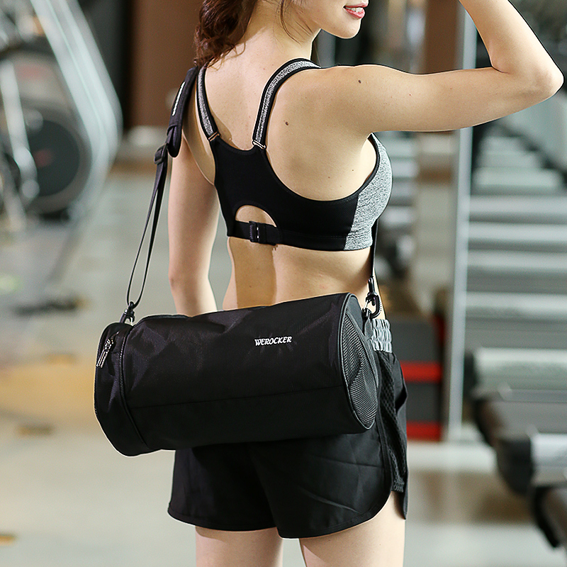 Fitness Bag Women's Cylinder Slanting Barrel Bag Travel Swimming Backpack Room Portable Training Dry and Wet Separation Men's and Children's Sports Bags