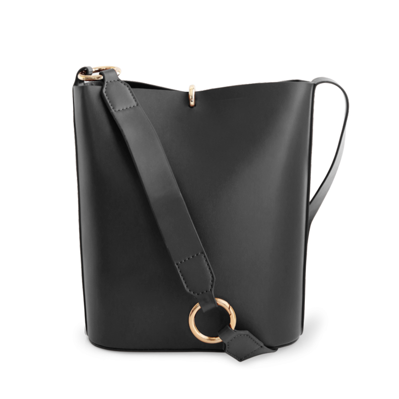 ENSSO bucket bag female bag female 2018 new leather wide shoulder strap Messenger bag shoulder bag big bag tote bag