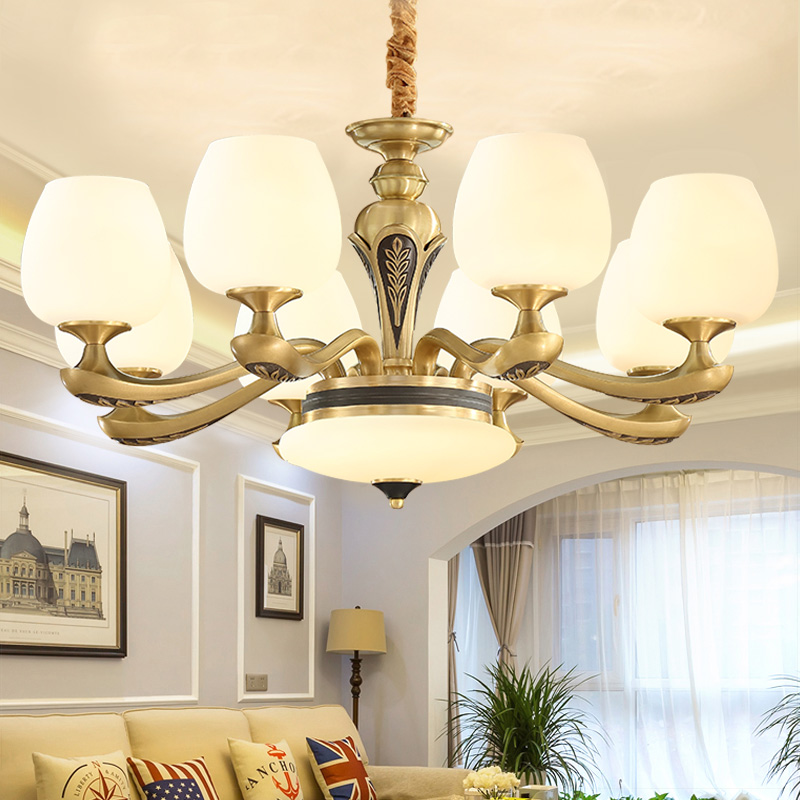 American Chandelier Living Room Lights All-copper Luxury Atmospheric European Restaurant Lights Modern Simple Retro-ancient Marble Household