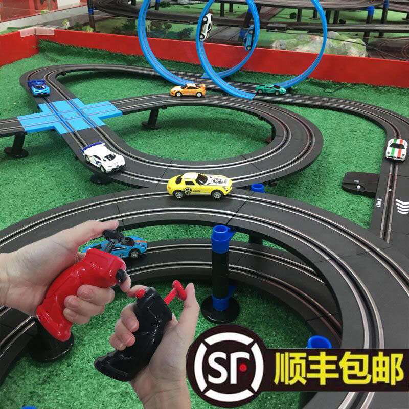 AGM Sonic Storm Childrens Toy Electric Track Car Boy Remote control small train car track double racing